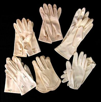 Vintage Womens White Gloves Lot of 6 Pairs Embroidered and Plain with Buttons