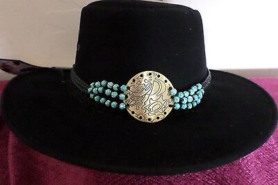 Turquoise Beaded Necklace/ Choker Or Hatband  Unusual Free Ship Usa