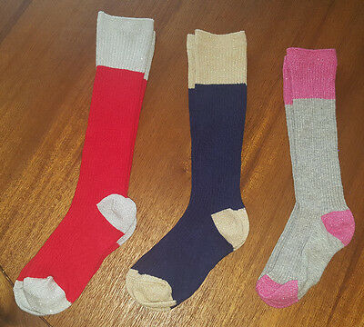 Girls Mini Boden Sock Lot (3 Pairs) Knee High Sparkly 2Y 3Y
