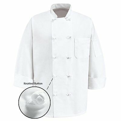 350 Chef Apparel 10 Knot Button Chef Coat   White   sz L