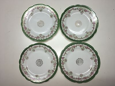 Vintage Imperial Crown China Austria Bread Plates (4)Green Gold Trim Floral
