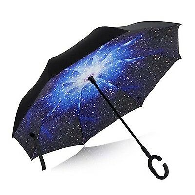 Reverse Folding Umbrella With C-Shaped Handle MJFOX Double Layer Inverted Umb...