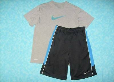 Boy's NIKE 2 Piece Dri-Fit Short Outfit Size Medium - Black Shorts & Gray Shirt