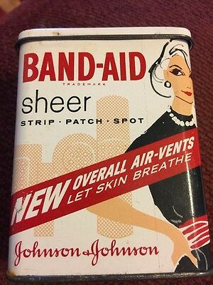 Vintage Band-Aid Tin Woman In Black  Dress  Mid 1960's In 2.5 X 3.5 Inch 59 Cent
