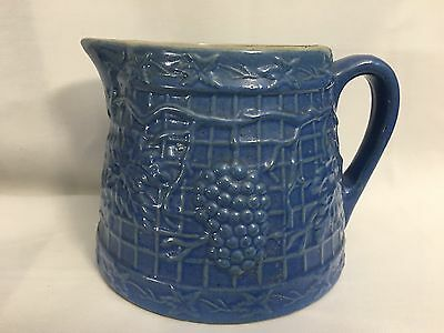 Antique Blue Grape & Trellis / Waffle Stoneware Tapered Squat Batter Pitcher