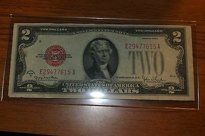 Series 1928 G $2 Two Dollar Bill United States Legal Tender Red Seal Note