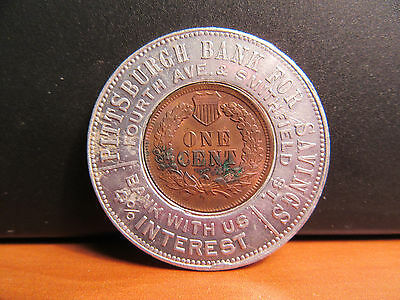 Pittsburgh Bank Pennsylvania Antique 1901 Encased Cent PA