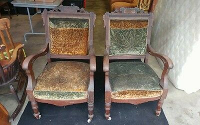 Pair of Victorian Renaissance 1890s Antique Chairs Carved Heads NO RESERVE