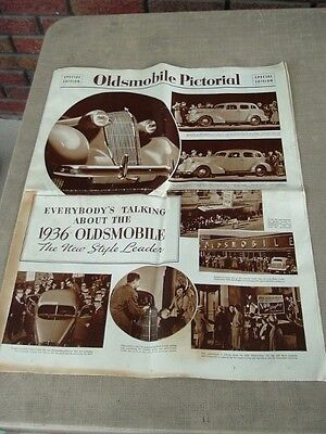 """1936 Oldsmobile Pictorial Special Edition Advertizement """"Newspaper"""" 21.5"""" x 17"""""""