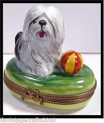 Limoges Sheepdog Dog No.17 Authentic Limoges Box Made in France