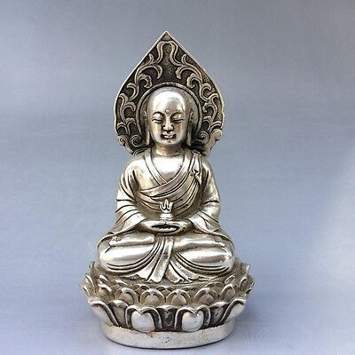 Old Tibet silver carved Buddha