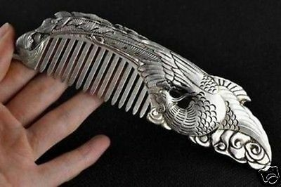Handwork Chinese Decorated Wonderful Tibet Silver Carving Phoenix Comb