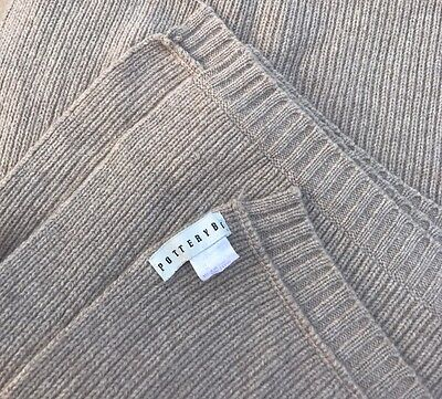 """Pottery Barn Lambswool Throw Blanket Taupe Beige 49"""" x 64"""" Freshly Cleaned Decor"""