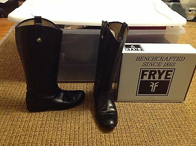 Frye Melissa Button Black Leather Pull On Boots Women's Size 9.5 M