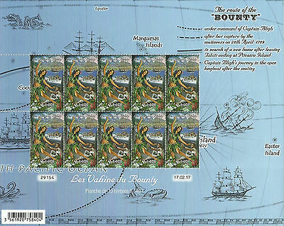 New Issue French Polynesia Route Of The  Bounty Vahine Complete Sheet 2017 Mnh