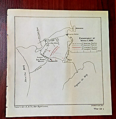 1899 Engagement of March 7th Manila Bay Phillipines War Department Map