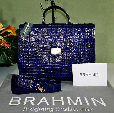 Brahmin Andrea Brief Case Business Laptop Leather Messenger Ink NWT