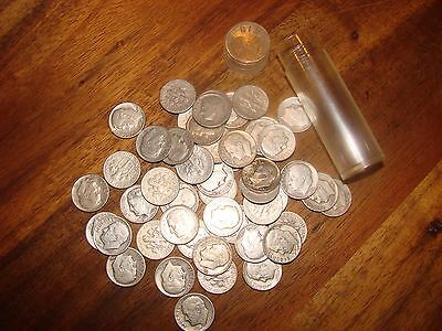circulated dime rolls, 50 coins, 90% silver
