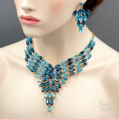 Gorgeous ROSE GOLD Plated Aqua Blue Crystal Necklace Earrings Jewelry Set 04201