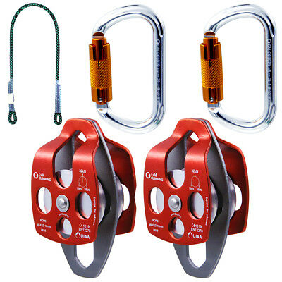 5:1 / 4:1 Pulley System Kit for Hauling Dragging Rigging Arborist Block & Tackle