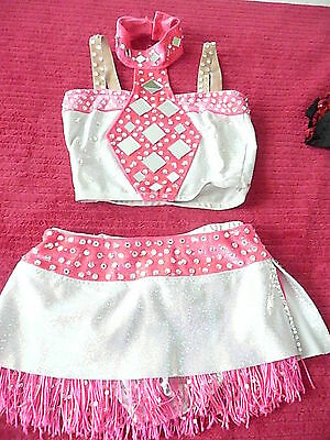2 pc pink and silver custom made competition costume