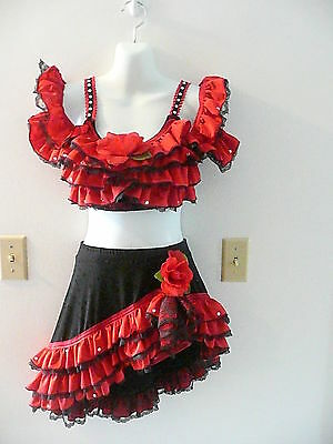 Custom made red and black spanish competition costume