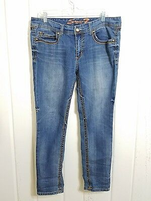 Seven 7 Women's Distressed Medium Wash Skinny Blue Jeans Size 14