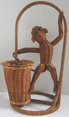 Vtg 50s Mid Century Modern Wicker Rattan Monkey Sewing Plant Basket Button Eyes