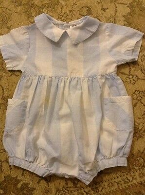 Blue and White Striped Baby  Romper Suit Age 6 to 9 months