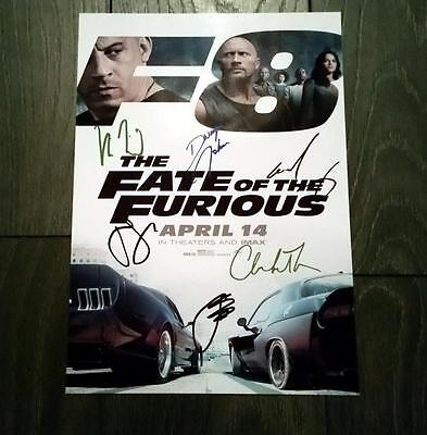"""Fate Of The Furious Castx6 Pp Signed 12""""x8"""" Photo Poster Fast N And Vin Diesel"""