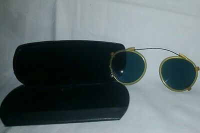 Vintage Clear Framed Steampunk Clip On Shades(Blue Lenses)