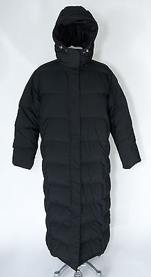 LANDS END black GOOSE DOWN hooded long puffer parka jacket coat sz Petite Large