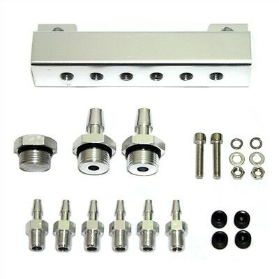 BILLET VACUUM MANIFOLD PRESSURE BLOCK w/ (6) 1/8 NPT PORTS+FITTINGS/PLUGS SILVER