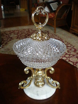 Vtg Hollywood Regency MCM Diamond Cut Crystal Candy Dish Lidded Compote Marble