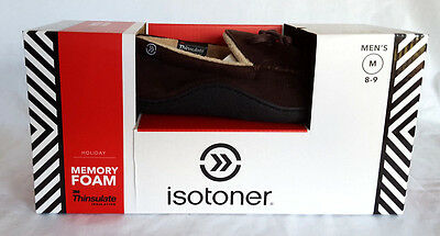 New Men's Isotoner Microsuede Moccasin SlippersThinsulate Brown MSRP $36 Large L