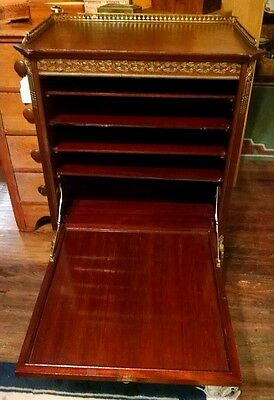 French Music Cabinet w/ Floral Marquetry and Ormolu in Brass & Bronze