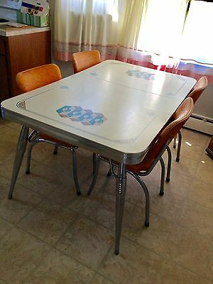 Vintage Retro Chrome Dinette Set (4 Chairs + Leaf Included)