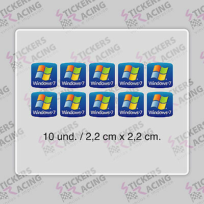 10 x WINDOWS 7 FOR PC LAPTOP HD QUALITY STICKER LOGO DECAL BADGE ADESIVO