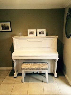 Piano & Piano Stool, Painted Shabby Chic