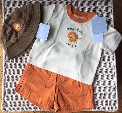 New Gymboree King Of The Jungle Shorts Shirt And Hat Set Size 0-3 Months Boys