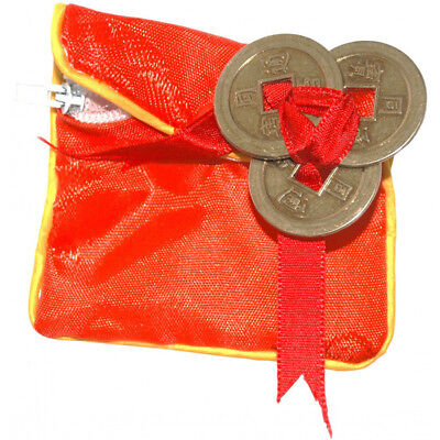 Lucky 3 Prosperity Coins with Red Pouch Chinese Feng Shui Chinese Ornament