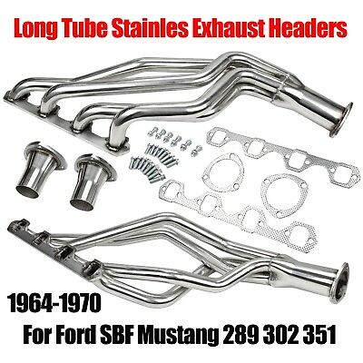 FITS FORD SBF Mustang 289 302 351 64-70 Long Tube Stainles Exhaust Headers  New