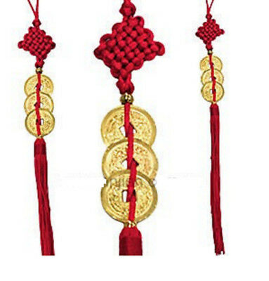 3 Lucky Coins Chinese Feng Shui Chinese Knot Hanging Ornament Home Decor 30cm