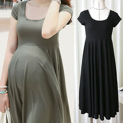 Fashion Pregnant Women Maternity Short Sleeve Casual Dress Cotton Summer Clothes