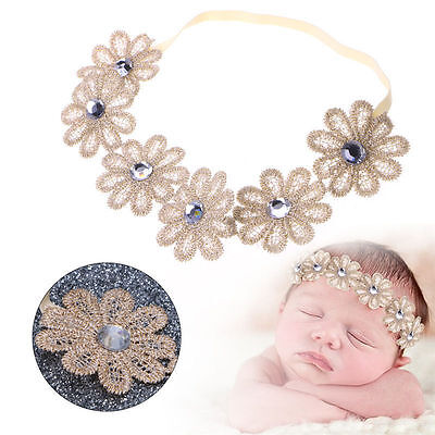 Cute Newborn Girls Baby Kids Toddler Elastic Flower Headband Hair Band Headwear