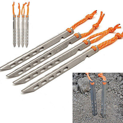 16pcs 10x10x160mm V-Shape Titanium Nails Camping Tent Stakes Outdoor Tent Pegs