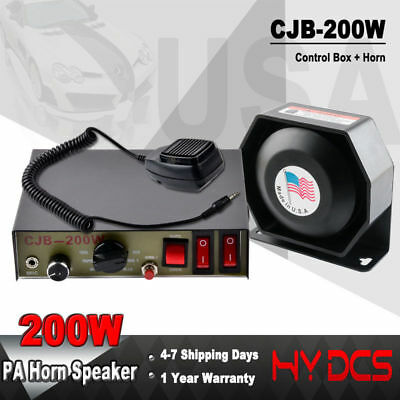 200W 8 Sound Loud Car Warning Police Alarm Fire Siren Horn PA Speaker MIC System