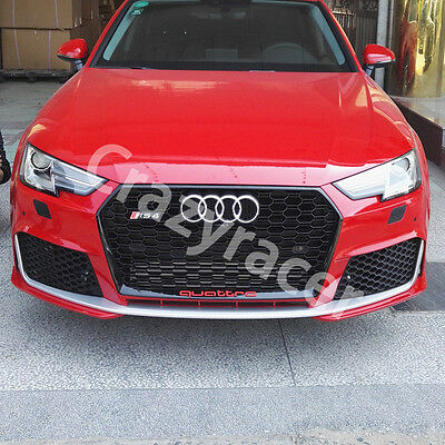 Black Front Mesh Grille Grill for Audi A4 B9 Silne Saloon 2016 To RS4 Style