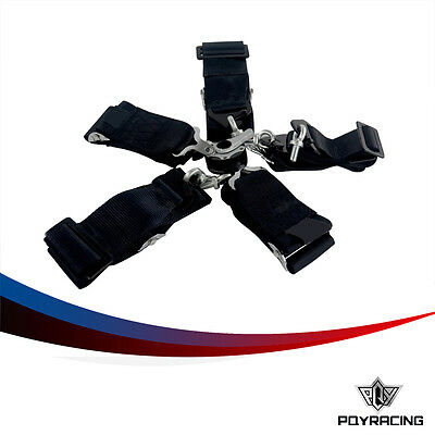 For FIA 2020 Homologation 3 inches 6 Point Racing Seat Belt RACING HARNESS Black
