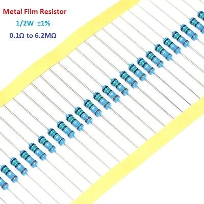 100pcs 1/2W 0.5W Metal Film Resistor 1% Tolerance 0.1 Ohm to 6.2M Ohm